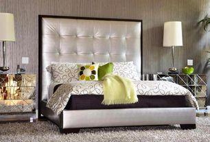 Art Deco Master Bedroom with INSPIRE Q Fenton Silver Panel Upholstered Bed, Built-in bookshelf, Carpet