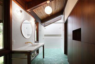 Modern Master Bathroom with ceramic tile floors, flush light, Skylight, Penny Tile, Master bathroom, Flush, Undermount sink