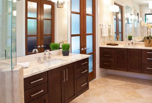 Contemporary Master Bathroom with stone tile floors, Rain shower, three quarter bath, full backsplash, Standard height, Flush