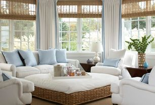"""Cottage Living Room with Smith & noble natural woven flat fold shades, Robert Abbey 31"""" White Ceramic and Brass Table Lamp"""
