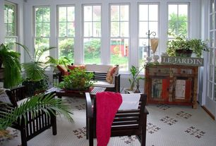 Traditional Porch with double-hung window, Fence, exterior stone floors, French doors