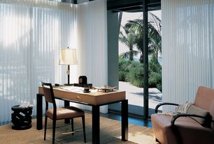 Modern Home Office with High ceiling, simple marble tile floors, The Shade Store Ripple Fold Drapery