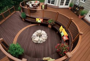 "Modern Deck with Miles Decks Custom Deck Builder, 5'0"" 15-Lite Steel Patio Prehung Double Door Unit, Glass panel door"