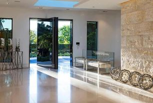 Contemporary Entryway with simple marble tile floors