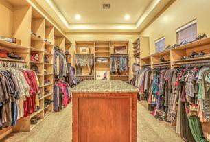 Traditional Closet with simple granite floors, Built-in bookshelf