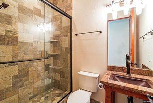 Eclectic 3/4 Bathroom with Complex Granite, full backsplash, Complex granite counters, Console sink, Paint 1, specialty door
