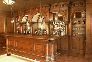 Traditional Bar with Built-in bookshelf, Hardwood floors, Pendant light, Crown molding, Standard height, flush light