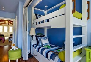 Traditional Kids Bedroom with Home Loft Concept Twin Bunk Bed with Built-In Ladder, Fatboy Point Bean Bag Chair Lime Green