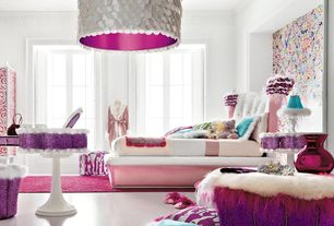 Eclectic Kids Bedroom with Pendant light, interior wallpaper, Linon flokati heavy fuschia rug, Crown molding, Concrete floors