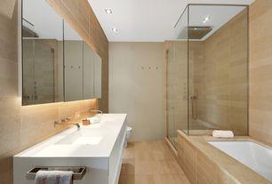 Contemporary Master Bathroom with frameless showerdoor, Double sink, European Cabinets, Arizona tile, EVEREST WHITE, Quartz