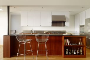 Modern Kitchen with Bertoia - wire counter stool, chrome finish