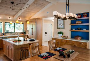 Contemporary Kitchen with flush light, Undermount sink, picture window, Ceramic Tile, Frameless, L-shaped, Breakfast nook