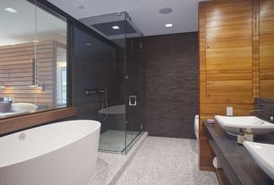 Modern Master Bathroom with Caracalla ceramica square vessel bathroom sink, Textured wall finish, Frameless glass shower door