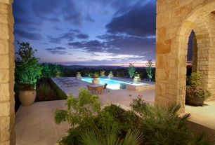 Mediterranean Patio with Fountain, Stacked stone wall, Pathway, Pool with hot tub, Arched doorway, exterior stone floors