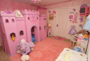 Traditional Playroom with six panel door, Norwich castle- twin size bunk bed, Wallpaper, Chandelier, Carpet, Standard height