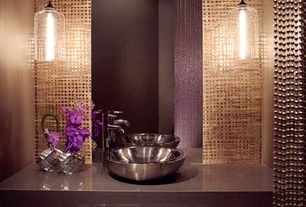 """Modern Powder Room with Powder room, Vessel sink, Pendant light, Stone forest - 16"""" stainless steel vessel sink, Paint"""