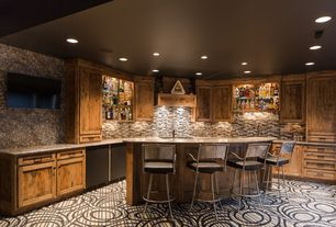 Eclectic Bar with Granite countertop tan brown, Crossville ebb and flow - sticks and stones, Carpet, Built-in bookshelf