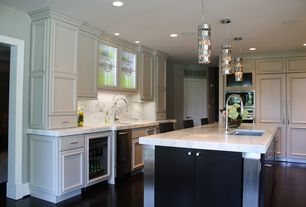 Contemporary Kitchen with Wine refrigerator, Kitchen island, Undermount sink, Complex Marble, Pendant light, L-shaped