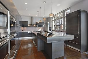 Contemporary Kitchen with Stainless Steel, Pendant light, European Cabinets, Brooks custom zinc countertops patina finish