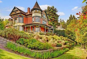 Exterior of Home with Raised beds, Deck Railing, double-hung window, picture window, Bay window, Paint