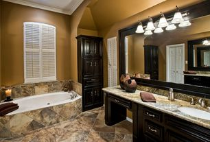 Traditional Master Bathroom with Ms international - golden bordeaux, Undermount sink, Master bathroom, Complex Granite