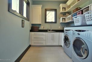 Contemporary Laundry Room with Laminate floors, Built-in bookshelf