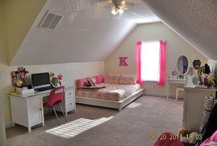 Traditional Kids Bedroom with Built-in bookshelf, Ceiling fan, High ceiling, Mirror vanity, Home styles naples pedestal desk