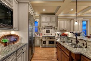 Traditional Kitchen with Box ceiling, double oven range, double-hung window, Standard height, Arched window, Stone Tile