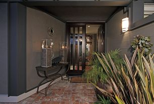 Contemporary Front Door with Brick floors, Standard height, Wall sconce, French doors