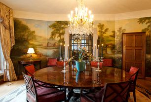 Traditional Dining Room with Chandelier, Crown molding, Mural, Hardwood floors