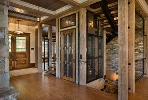"Rustic Entryway with French doors, Columns, Lineage Collection Downlight 12 3/4"" Wide Pendant Chandelier, Pendant light"