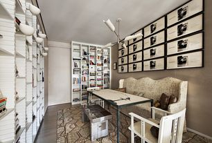 Contemporary Home Office with Built-in bookshelf, Crown molding, Wall sconce, interior wallpaper, Laminate floors