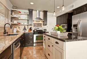 Traditional Kitchen with MS International Scabas Pattern Honed-Unfilled-Chipped-Brushed Travertine Floor and Wall Tile, Flush