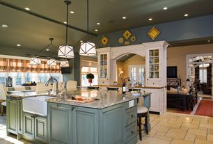 Country Kitchen with Pendant light, limestone tile floors, can lights, Raised panel, Complex granite counters, Breakfast bar