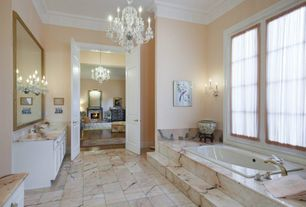 Traditional Master Bathroom with Undermount sink, Crown molding, Master bathroom, Complex marble counters, Chandelier, Flush
