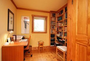 Craftsman Home Office with Oia natural round wicker wastebasket, Hardwood floors, Andover mills calvert office chair