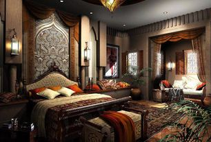Eclectic Master Bedroom with terracotta tile floors, flush light, Wall sconce