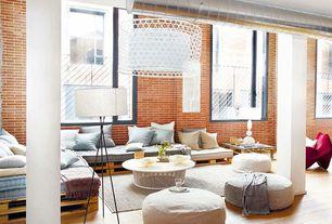 Contemporary Living Room with interior brick, Columns, Hardwood floors
