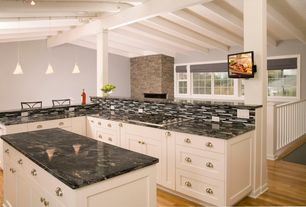 Traditional Kitchen with Complex granite counters, High ceiling, Columns, electric cooktop, flush light, Exposed beam, Flush
