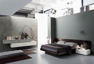 Contemporary Master Bedroom with Paint 3, High ceiling, Deimos Modern Platform Bed by Mobenia, PHOTOGRAPHER'S TASK TABLE LAMP