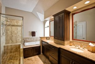 Traditional Master Bathroom with Master bathroom, Simple Granite, specialty door, Double sink, Rain shower, Raised panel