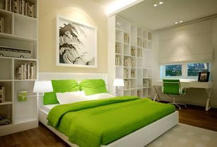 Contemporary Master Bedroom with Classic low back office chair green, Built-in bookshelf, Hardwood floors, Exposed beam