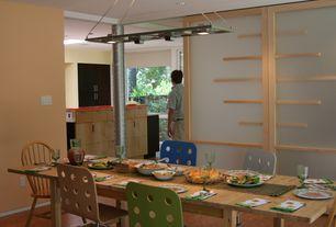 Modern Dining Room with Columns, Hardwood floors, Pendant light
