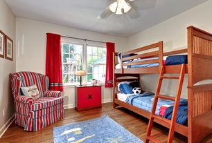 Traditional Kids Bedroom with Hardwood floors, Ceiling fan