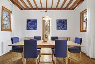 Modern Dining Room with Pendant light, French doors, Exposed beam, Hickory autumn wheat, solid hardwood flooring