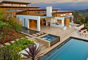 Contemporary Exterior of Home with Reflection pool, Paint 1, Stone tile liquidators ramon gold honed 24x24