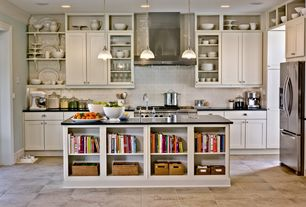 Traditional Kitchen with L-shaped, Kitchen island, Flat panel cabinets, European Cabinets, Crown molding, Large Ceramic Tile