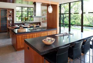 Contemporary Kitchen with Island Hood, Soapstone counters, Flush, Breakfast bar, electric cooktop, U-shaped, Kitchen island