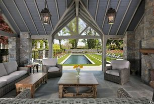 Rustic Porch with Fence, Raised beds, exterior stone floors, Cambridge pendant