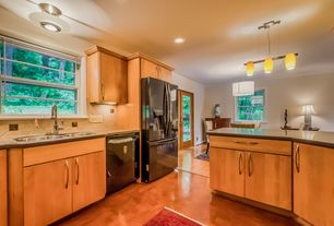 Contemporary Kitchen with flush light, Built-in bookshelf, Hardwood floors, Kitchen Craft, Lockhart Cabinet Door Style
